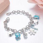 Pure 925 <b>Sterling</b> <b>Silver</b> Luxury Heart-shaped Cute Bracelets T design Fashion Women Charm <b>Jewelry</b> Lady Gifts drop Shipping