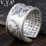 V.YA Thai Silver Fish & Lotus Flower Rings for Women Men Original 990 Sterling Silver <b>Jewelry</b> Adjustable Size