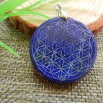 Drop shipping Natural Lapis lazuli Quartz Crystal Flower of Life Pendant Carved Healing Free shipping