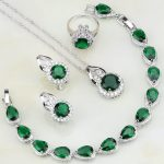 Green Cubic Zirconia White CZ Bridal 925 Sterling Silver <b>Jewelry</b> Sets For Women Wedding Ring/Earring/Pendant/<b>Necklace</b>/Bracelet