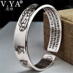 V.YA Solid 999 <b>Sterling</b> <b>Silver</b> Cuff Bracelets Bangles for Women Men Lotus Flower Heart Sutra Thai <b>Silver</b> <b>Jewelry</b>