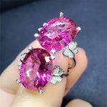 hot sale natural gemstone ring 925 sterling <b>silver</b> fine <b>jewelry</b> MEDBOO brand rose red pink topaz adjustable ring hand <b>jewelry</b>