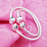 BUYEE S990 Baby Parent-child Lovely Cat Pendant Bangles Pink Double Hello Kitty Charm <b>Bracelets</b> & Bangles Jewelry