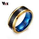 Vnox 8MM Blue Tungsten Carbide Rings for Men <b>Jewelry</b> with Black Carbon Fiber