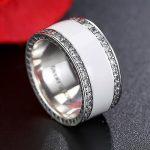 EVOJEW Original 100% 925 Sterling Silver Radiant Hearts, White Enamel & Clear CZ Wide Band Finger Rings Women <b>Wedding</b> <b>Jewelry</b>