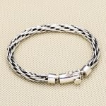 100% Solid <b>Sterling</b> <b>Silver</b> 925 Interlock Weave Link Band Bracelet Men Simple Brief Design Fashion Mens <b>Silver</b> 925 <b>Jewelry</b> Gifts