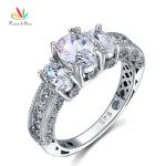 Peacock Star Vintage Style 2 Carat Solid 925 Sterling Silver Wedding Engagement Ring <b>Jewelry</b> CFR8093