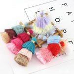 20pcs mix 8CM Triple Layer Multi Coloured Tiered Tassels New Fall Colors Cotton Layered Tassels DIY <b>Jewelry</b> <b>Supplies</b>