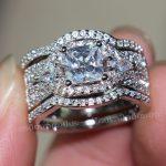 Fashion <b>Jewelry</b> <b>Handmade</b> Princess cut 8mm Cz 5A Zircon stone 10KT White Gold Filled Engagement Wedding Band Ring Set Sz 5-11