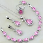 Trendy 925 Sterling Silver <b>Jewelry</b> Pink Cubic Zirconia White CZ Sets For Women Wedding Earrings/Pendant/<b>Necklace</b>/Bracelet 4PCS