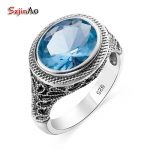Szjinao European Vintage Rings For Women Men Royal Oval Aquamarine Real 925 Sterling <b>Silver</b> <b>Jewelry</b> Cocktail Party Gift