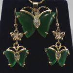 Prett Lovely Women's Wedding Fashion 18kgp + gem Butterfly Earrings Pendant <b>Jewelry</b> Set>AAA GP Bridal wide watc brinco