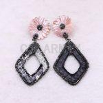 Wholesale Mix color Big shell earrings pave rhinestone rhombus <b>jewelry</b> earrings <b>handmade</b> <b>jewelry</b> earrings Gift for lady 3651