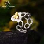 Lotus Fun Moment Real 925 Sterling Silver <b>Handmade</b> Fashion <b>Jewelry</b> Creative Honeycomb Open Ring Home Guard Rings for Women