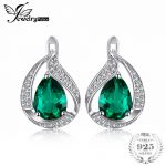 JewelryPalace Water Drop 3.7ct Created Green Nano Russian Emerald Clip <b>Earrings</b> For Women Solid 925 Sterling <b>Silver</b> Fine Jewelry