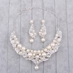 Bridal Necklace And Earrings Set Rhinestone Fake Pearl Neck Ornament Luxury Charm <b>Handmade</b> Wedding <b>Jewelry</b> Set Parting Gifts