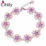 CiNily Created White Fire Opal Purple Zircon <b>Silver</b> Plated Wholesale Flower for Women Jewelry Chain <b>Bracelet</b> 7 1/4″-8 3/8″ OS580