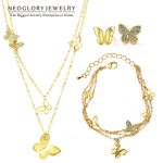 Neoglory Rhinestone Light Yellow Gold Color Wedding Butterfly <b>Jewelry</b> Sets for Women Bridal Birthday Gifts 2018 New JS6 G1