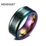 Meaeguet Muti-Color Carbon Fiber Men Ring Wedding Brand 8MM Wide Tungsten Carbide 2.6MM Thick Ring Trendy Male <b>Jewelry</b>