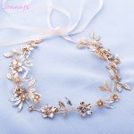 Jonnafe <b>Handmade</b> Gold Leaf Headband Bridal Hair Vine <b>Jewelry</b> Crystal Wedding Hair Crown Accessories Women Forehead band