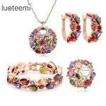 LUOTEEMI Rose Gold-Color Luxury-Colorful Cubic Zirconia Mona Lisa Necklace Earrings Bracelet brooches <b>Jewelry</b> Set for <b>Wedding</b>