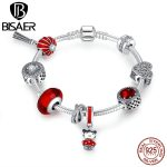 100% 925 Sterling <b>Silver</b> Cute Girl Pendant, Red European Glass Beads <b>Bracelet</b> Authentic Original Jewelry Snake Clasp EDB011