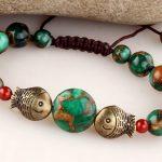 Handmade ethnic <b>jewelry</b> blue stone beads fishing Bronze slipknot rope bracelet women <b>accessories</b> wholesale/pulseiras femininas