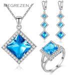 MEGREZEN Luxury Zirconia Wedding Bridal <b>Jewelry</b> Sets Silver Costume Jewelery Rings And Earrings <b>Necklace</b> With Stones Ys007-5