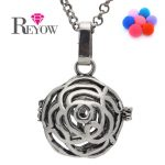 <b>Antique</b> Silver Hollow Rose Flower Cage Box Locket Pendant Necklace Aromatherapy Essential Oil Diffuser <b>Jewelry</b> 7 Colors Pompons