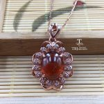TBJ, Flower pendant with natural good fenda color spessartine Garnet gemstone in 925 sterling <b>silver</b> fine <b>jewelry</b> with gift box
