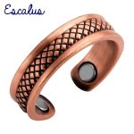 Escalus Square Pattern Magnetic Women Ring Trendy <b>Antique</b> Copper Resizable Female Magnet Wedding Rings <b>Jewelry</b> Charm Finger Wear