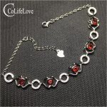 Dazzling garnet bracelet for woman 24 pcs 4 mm garnet <b>silver</b> bracelet solid 925 <b>silver</b> garnet <b>jewelry</b> birthday for woman