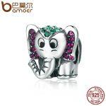 BAMOER <b>Fashion</b> 100% 925 Sterling Silver Lucky Elephant Sparkling CZ Animal Beads fit Women Charm Bracelet <b>Jewelry</b> Gift SCC200
