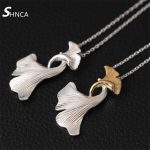 Fine <b>Jewelry</b> Genuine 100% 925 Sterling Silver <b>Handmade</b> Art Double Ginkgo Leaves Choker Necklaces For Women Collares N376