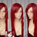 100% Brand New High Quality <b>Fashion</b> Picture full lace wigs>>Fairy Tail Erza Scarlet Dark Red 100cm Straight Cosplay Party Wig