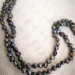 """127cm 50"""" Women <b>Jewelry</b> necklace 6x7mm black brown gray colors flat pearl <b>handmade</b> Real cultured freshwater pearl gift"""