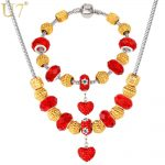 U7 DIY Bead Necklace Set New Gold/<b>Silver</b> Color Red Crystal Rhinestone European Necklace <b>Bracelet</b> Jewelry Set S595