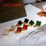 1.6cm Exquisite design Brand Fashion fine <b>Jewelry</b> Women <b>Wedding</b> Earrings Mother Shell Green Red Black Clover Screw-back Earrings