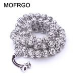 MOFRGO Charm <b>Silver</b> plate Multi Layers 108 Beads <b>Bracelet</b> For Men And Women Buddhist Meditation Six Words Mantras Lotus <b>Bracelet</b>