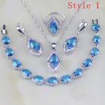 Blue Stones White Cubic Zirconia 925 Sterling <b>Silver</b> Jewelry Sets Earring/Pendant/Necklace/<b>Bracelet</b>/Ring 6 <b>Bracelets</b> Availabled