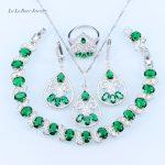 L&B bohemia plant Bridal <b>Jewelry</b> Green created Emerald White zircon silver color 925 logo crystal <b>Jewelry</b> Sets for women