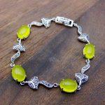 FNJ Fox <b>Bracelet</b> 925 <b>Silver</b> Natural Yellow Green Chalcedony Stone 19.5cm Chain S925 <b>Silver</b> <b>Bracelets</b> for Women Red Zircon