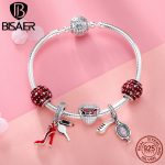 BISAER Authentic 925 Sterling <b>Silver</b> Red High Heels Pendant With Heart Beads Brand <b>Silver</b> Charm <b>Bracelet</b> For Women Gift GXB802
