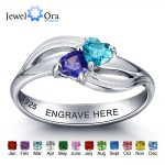 Personalized 925 Sterling Silver Around Two Heart Ring DIY <b>Jewelry</b> For Couples Customize Birthstone Ring (JewelOra RI101974)
