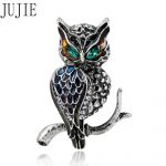 JUJIE Vintage <b>Antique</b> Silver Owl Brooches For Women's Clothing Crystal Enamel Pin Animal Fashion <b>Jewelry</b> With Free Shipping