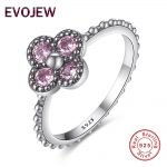 Authentic 100% 925 Sterling Silver Ring Dazzling Pink CZ Flower Crystal Rings for Women Luxury Wedding <b>Jewelry</b> <b>Accessories</b>