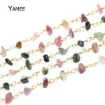 5Meter Irregular Tourmaline Beads Rosary Chain Pure Copper Wire Wrapped Chain <b>Necklace</b> Bracelet <b>Jewelry</b> Findings Wholesale