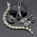 925 Sterling Silver Jewelery Olive Green Cubic Zirconia <b>Jewelry</b> Sets For Women Earrings/Pendant/<b>Necklace</b>/Ring/Bracelet