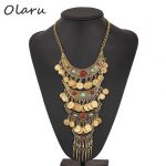 Olaru Brand Coin Long Tassel Beads Choker Necklace Statement Vintage Maxi Necklaces <b>Antique</b> <b>Jewelry</b> Accessories Hot New C24