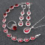 Red Zirconia Bridal 925 Sterling <b>Silver</b> Jewelry Sets Women Stone <b>Bracelet</b> Earrings Pendant Necklace Rings Set Jewelery Gift Box